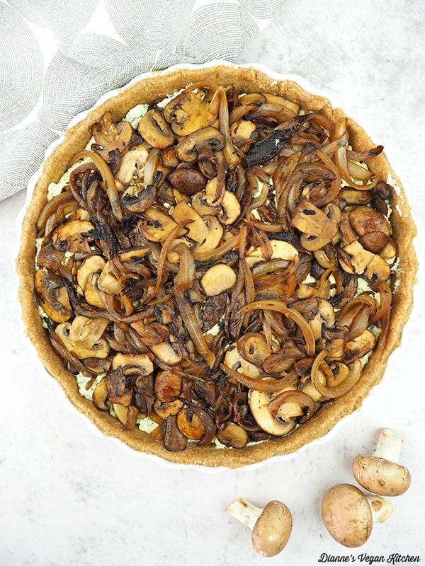 Uncooked mushroom tart