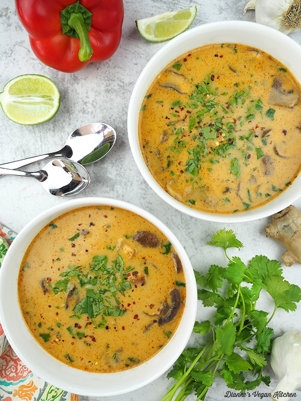 two bowls of Thai Coconut Curry Soup overhead
