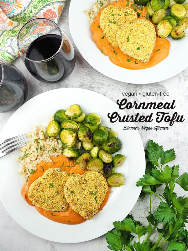 Heart Shaped Cornmeal Crusted Tofu with text overlay