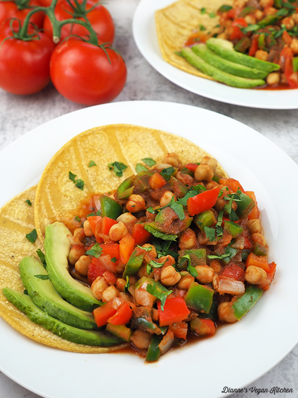 close up of Chickpea Rancheros