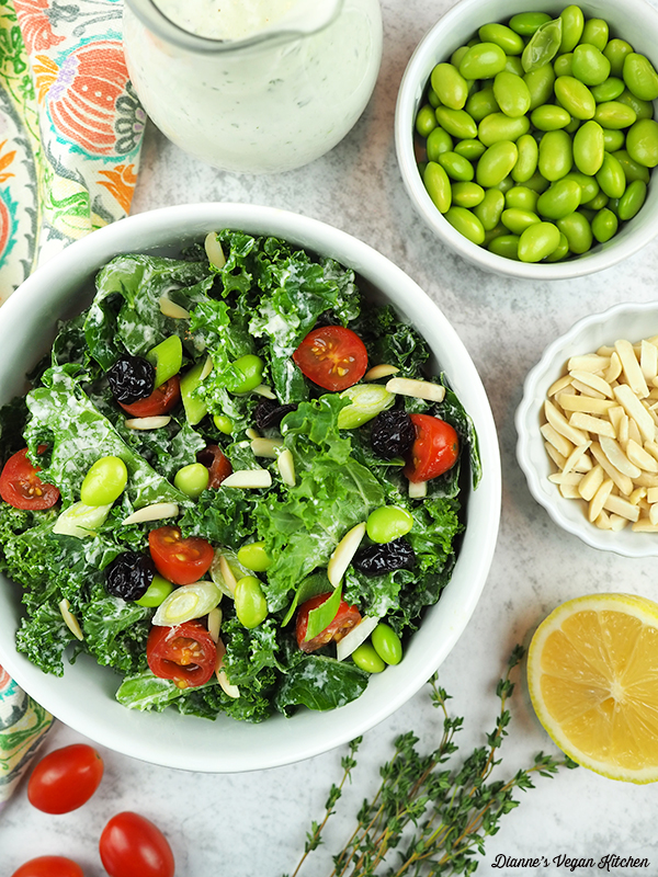 salad with edamame, almonds, lemon, and dressing