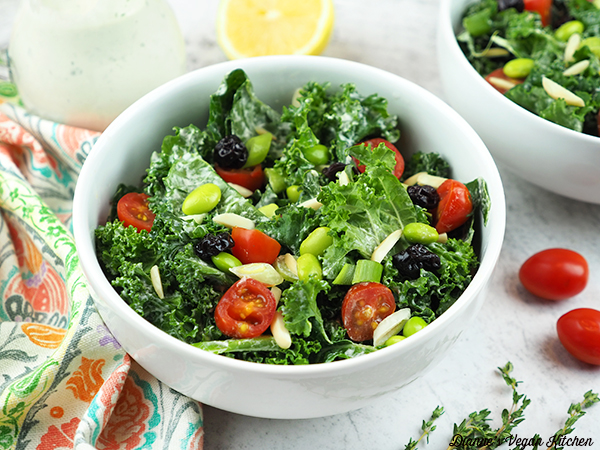 Kale and Edamame Salad in bowl horizontal