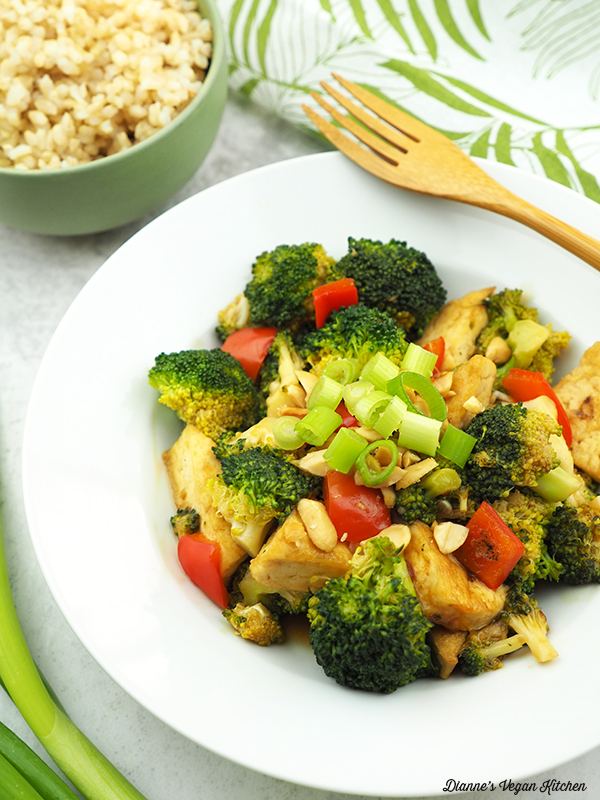 Kung Pao Tofu with Broccoli close up