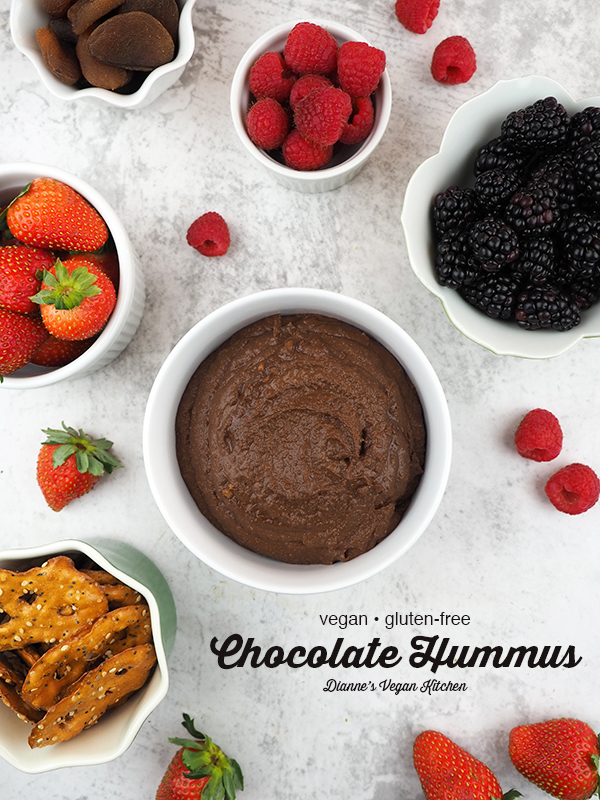 Vegan Chocolate Hummus from above with text overlay