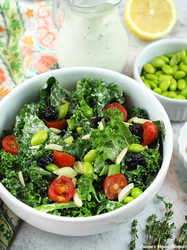 Kale and Edamame Salad close up