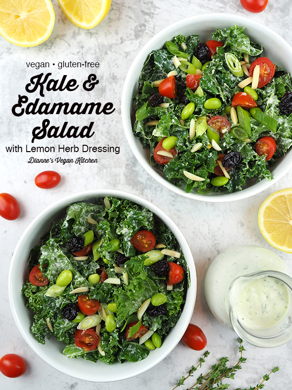 Kale and Edamame Salad with text overlay