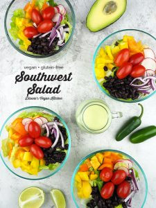Southwest Salad from Vegan Yack Attack's Plant-Based Meal Prep by Jackie Sobon with text overlay