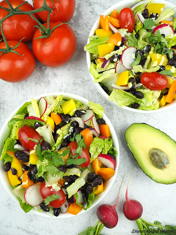 salad with tomatoes and avocado