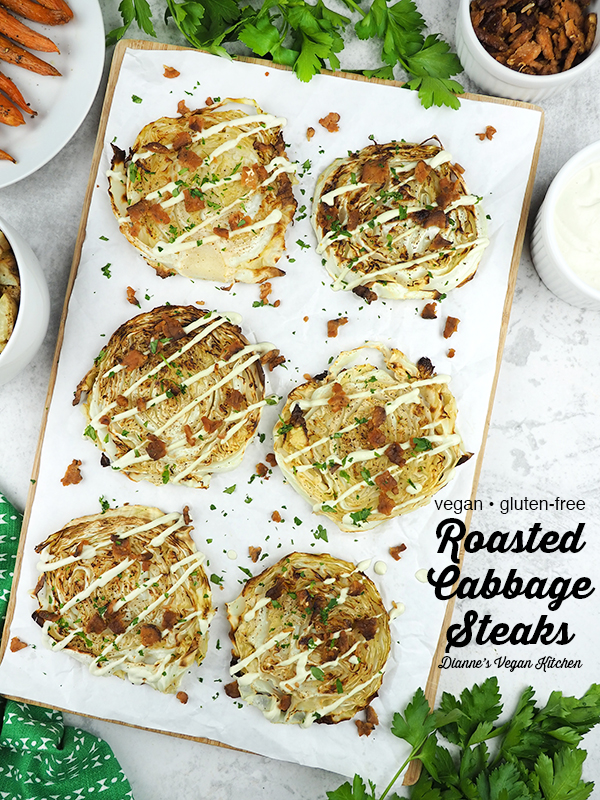 Roasted Cabbage Steaks with text overlay