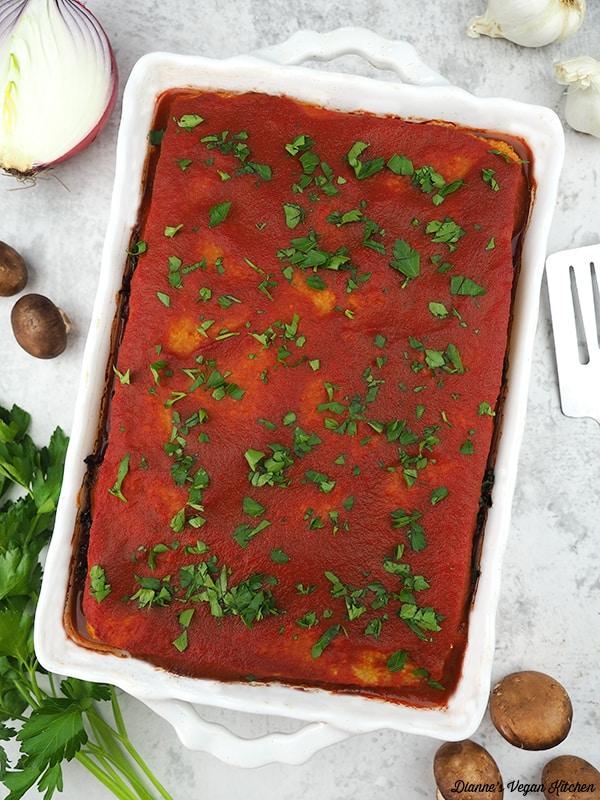 Vegan Polenta Lasagna overhead