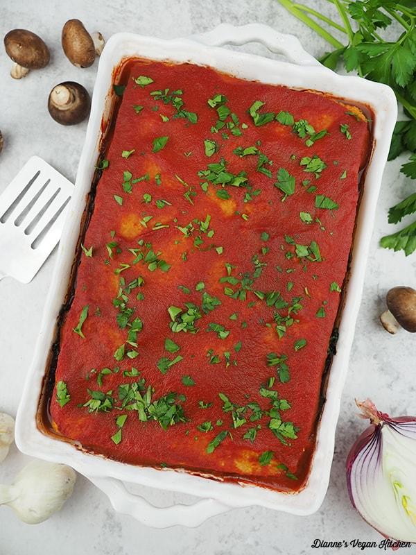 lasagna in pan