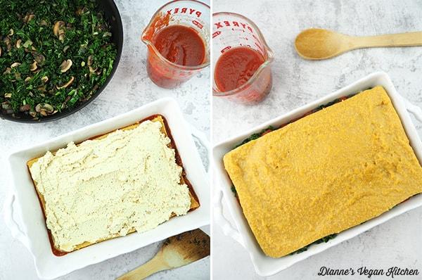 assembling lasagna collage