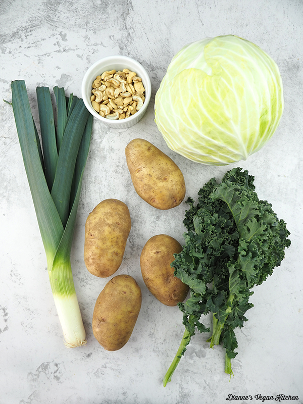 potatoes, cabbage, kale, leek, cashews