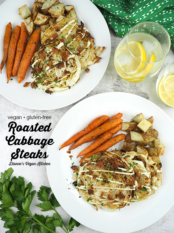 Roasted Cabbage Steaks on plate with text overlay