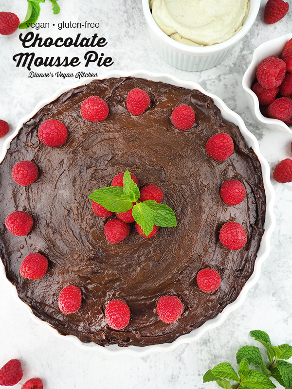 Vegan Chocolate Mousse Pie with text overlay