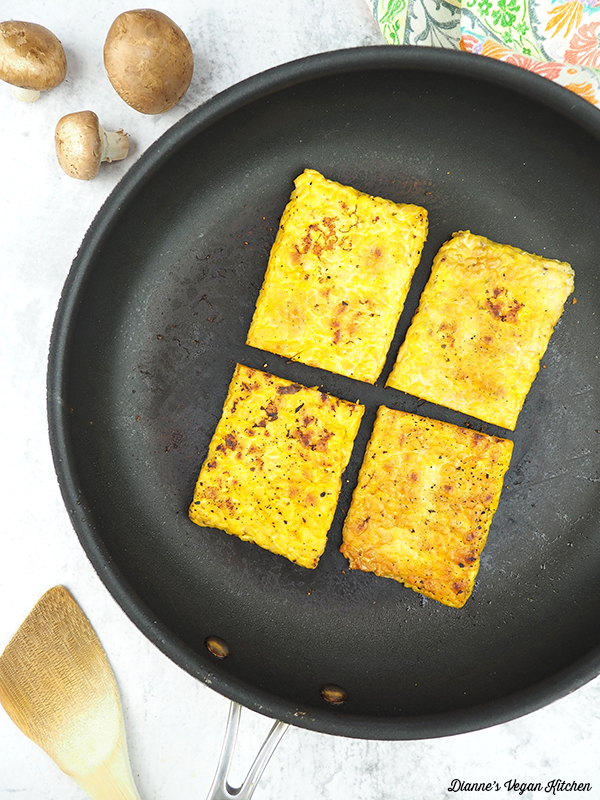 tempeh in pan