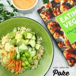 Vegan Poke Bowl with Eating Vegan with text overlay