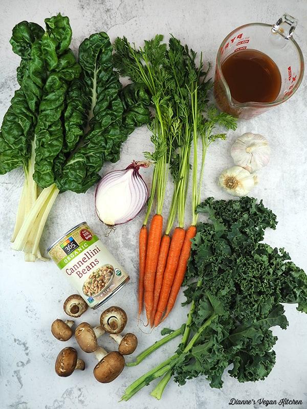 carrots, kale, chard, beans, mushrooms, onion, garlic, stock