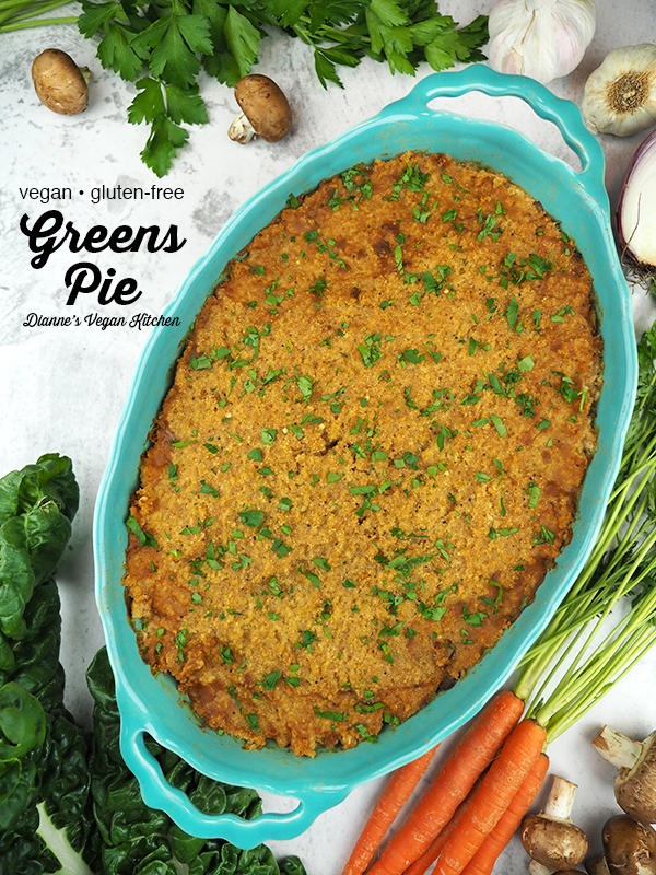 Greens Pie with text overlay