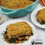 greens pie on plate with text overlay