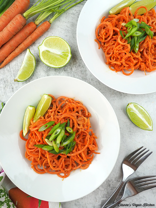 Peanut Carrot Noodles from above with carrots