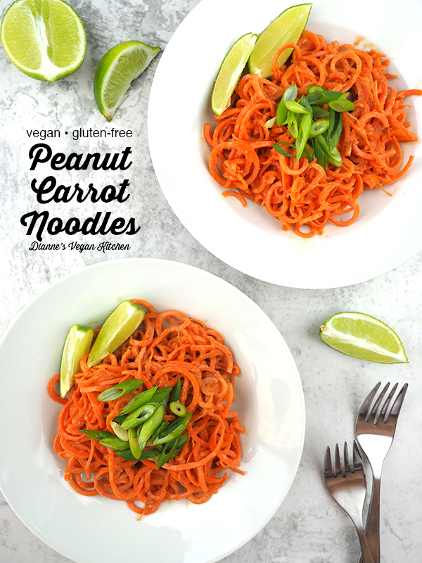 Peanut Carrot Noodles from above with text overlay