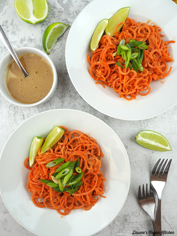 carrot noodles with peanut sauce from above