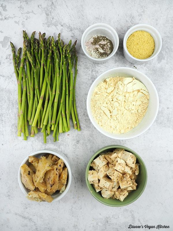 asparagus, archive hearts, vegan feta, chickpea flour, spices