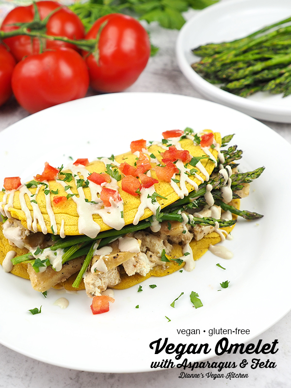 Vegan Omelet with Asparagus and Feta with text overlay
