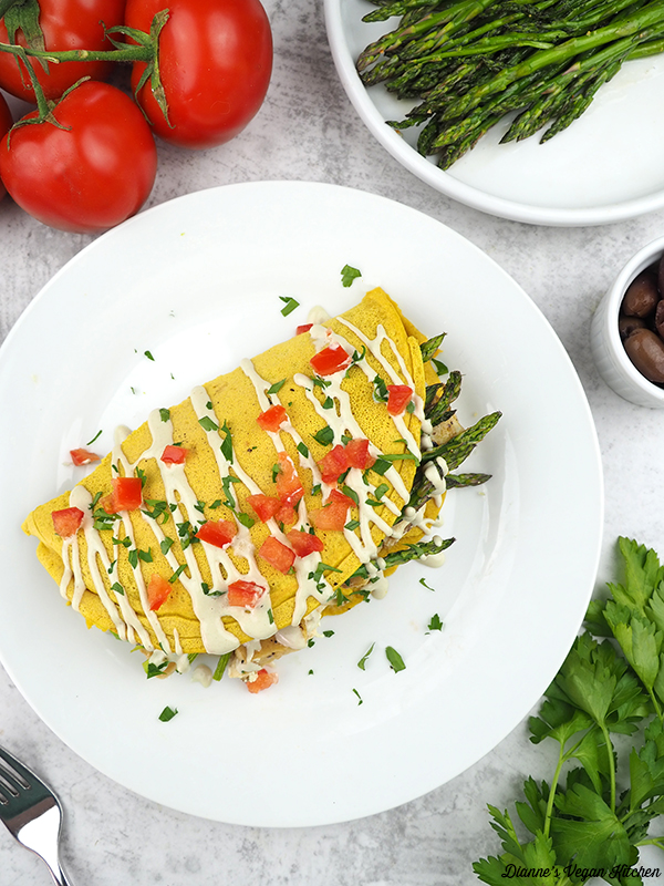 Vegan Omelet on plate overhead