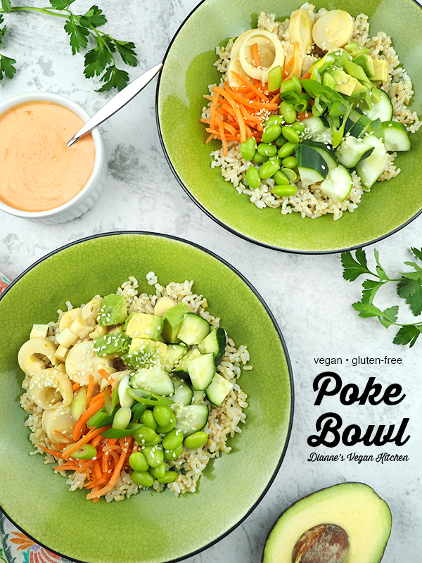two poke bowls with text overlay