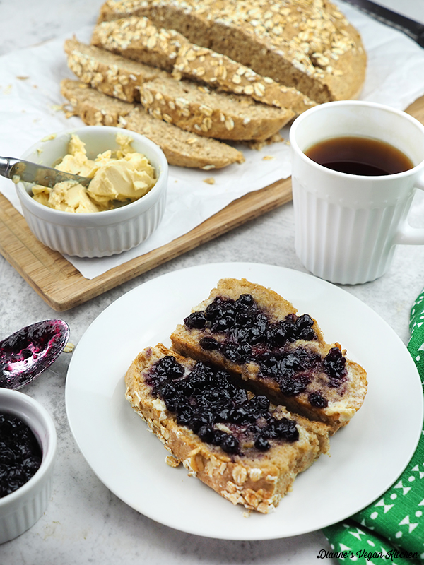 soda bread slices with butter and jam