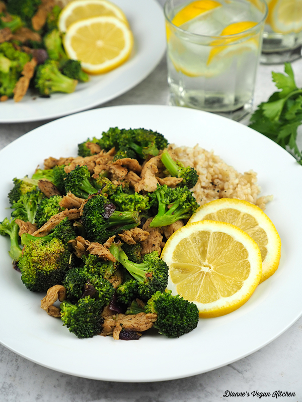 Lemon Pepper Soy Curls with Broccoli