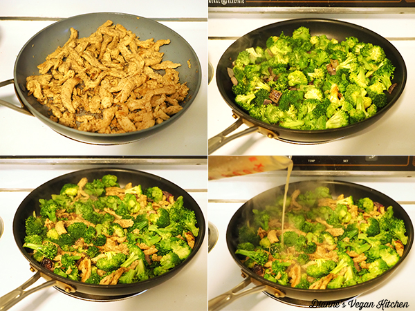cooking soy curls and broccoli