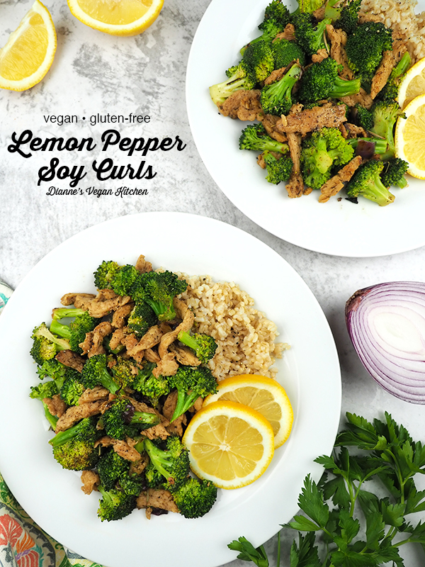 Lemon Pepper Soy Curls with Broccoli with text overlay