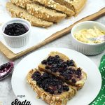 soda bread slices with butter and jam and text overlay