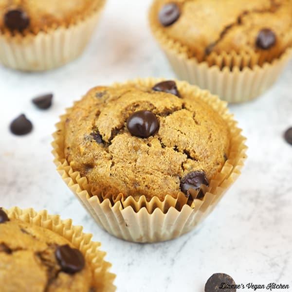 Vegan Chocolate Chip Banana Muffins square
