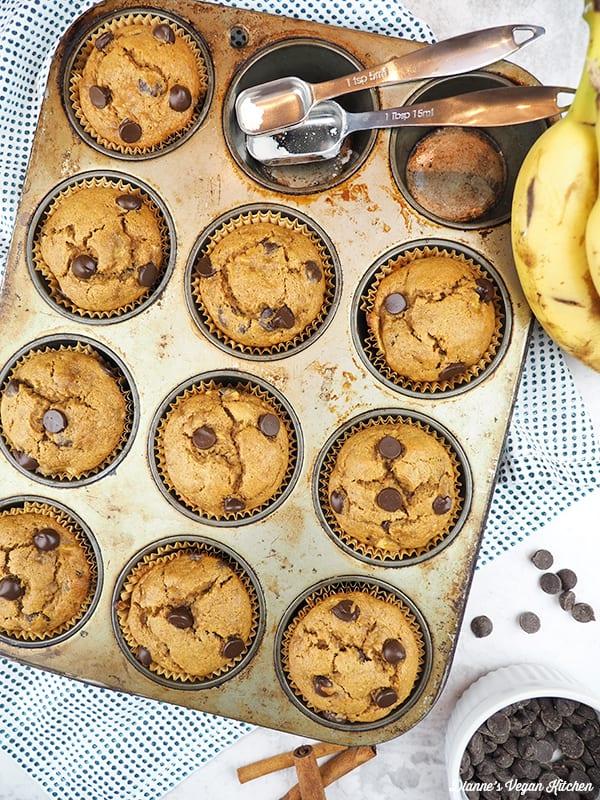 muffins in baking tin