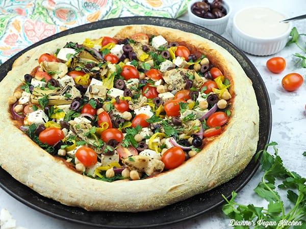 vegan greek pizza horizontal