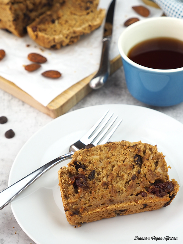 Vegan Peanut Butter Bread on plate with cup of tea