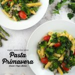 two plates of Vegan Pasta Primavera with text overlay