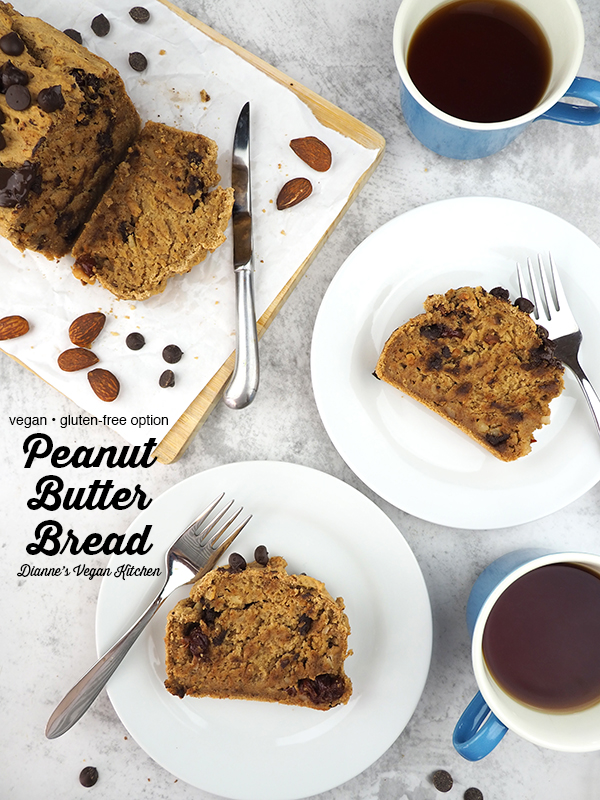 Vegan Peanut Butter Bread slices on plates with text overlay