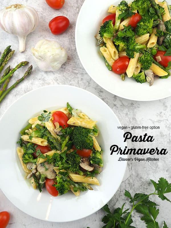 vegan pasta primavera text overlay