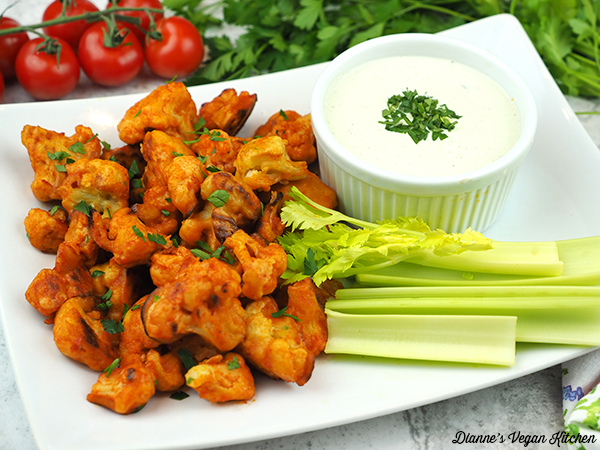 Vegan Buffalo Cauliflower Bites horizontal
