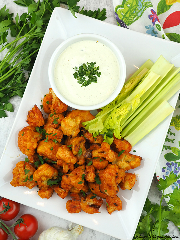 Vegan Buffalo Cauliflower Bites overhead