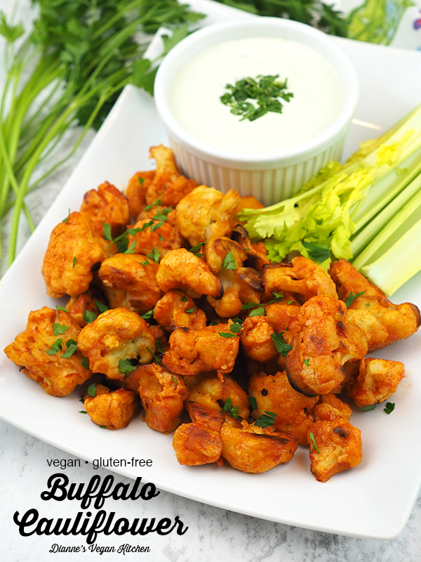 Vegan Buffalo Cauliflower Bites with text overlay