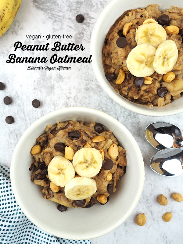 Peanut Butter Banana Oatmeal with text overlay