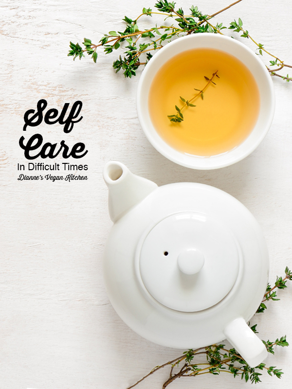 Self Care tea with text overlay