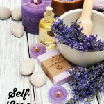 self care lavender text overlay