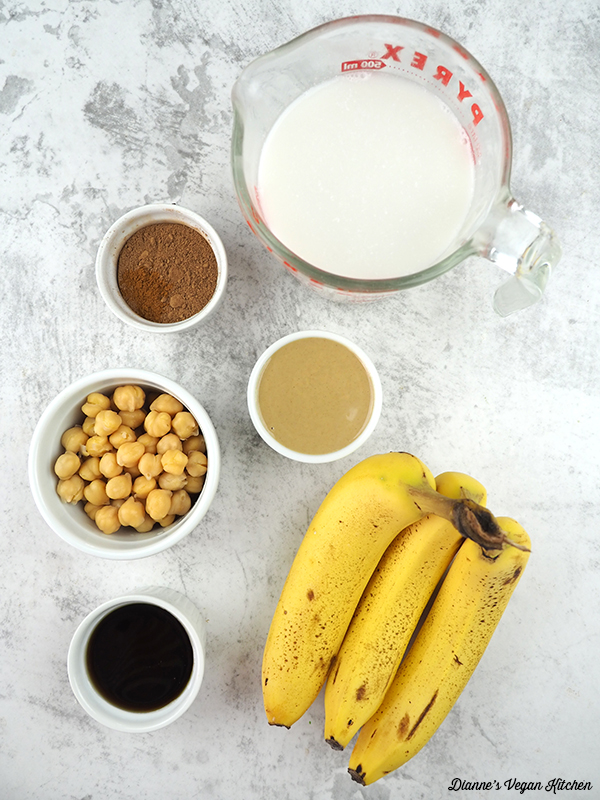 bananas, chickpeas, tahini, almond milk, cocoa powder